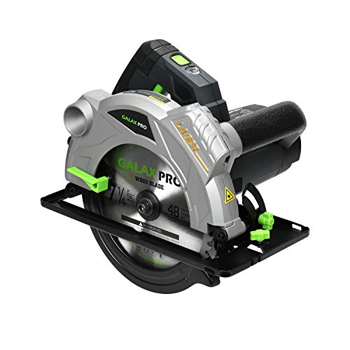 GALAX PRO 1500W 5500U Handkreissäge, Kreissäge mit Laser, 2 Klingen (24T / 48T), Max Schnitttiefe: 90°: 65mm / 45°: 43mm, zum Scheiden von Kunststoff, Sperrholz und Weichmetall