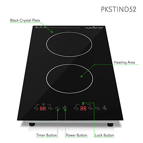 Product Image 3: NutriChef – Dual 120V Electric Induction Cooker – 1800w Digital Ceramic Countertop Double Burner Cooktop – Black