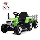 Nasitip 12V Kids Battery Powered Electric Tractor with Trailer, Toddler Ride On Car w/ Remote Control/ 7-LED Headlights/ 2+1 Gear Shift/ Horn/ MP3 Player/USB Port (Green-Grey, 25W/ Tread Tire)