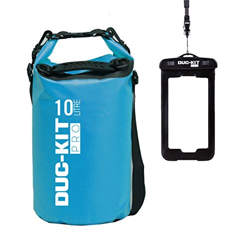 Duc-Kit Pro Waterproof Dry Bag + Smart Phone IPX8 Case, 2 Adjustable Shoulder Straps as Standard. Ideal for Kayaking, Canoeing, Diving, Fishing, Boating, Swimming, Camping, Skiing. (Blue, 10 L)