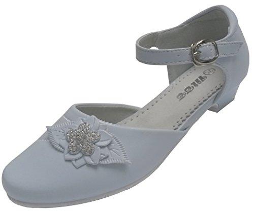 deine-Brautmode - Zapatos de Material Sintético Niñas, Color Blanco, Talla 34 EU