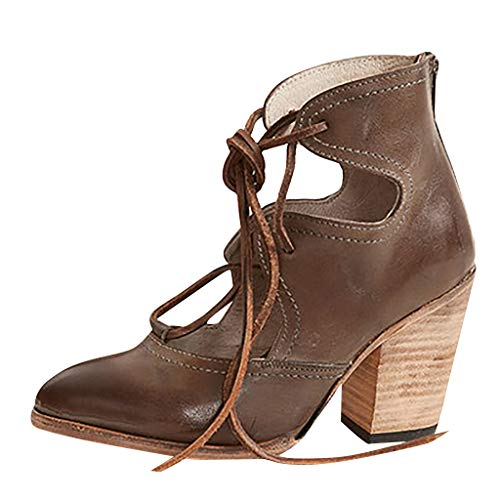 DressLksnf Retro de Sandalias de Talón Grueso para Mujer Moda Correas Cruzadas Sandalias de Tacón Alto Cuña 3 CM Zapatillas de Vestir Ligeros Comodo Sandalias Romanas