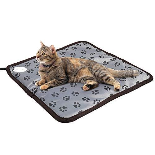 Almohadilla de calefacción para gatos para mascotas, almohadilla de calefacción eléctrica para interiores, para perros, cachorro, manta de calentamiento con ajustable..
