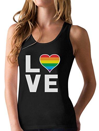 Gay Love Rainbow Heart Tank Top Gay Pride Awareness Racerback Tank Top Medium Black
