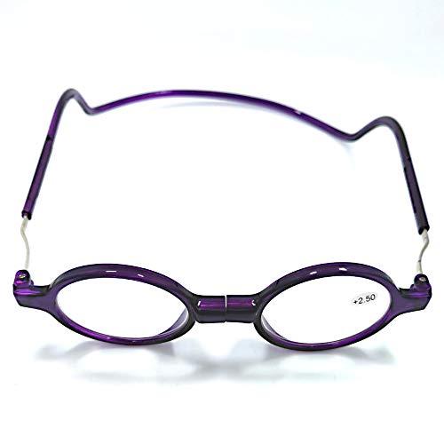 Y&J magnetische leesbril voor dames, retro-speler, rond, ultralichte bril, compact design, met halsband