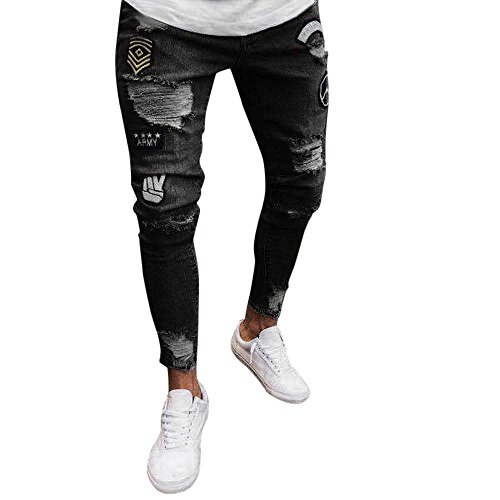 Yusealia Pantalones Hombre Verano,Pantalones Hombre Casuales,Moda Hombres Slim Biker Cremallera Jeans de Mezclilla Pantalones Pitillo Desgastados Pantalones Rip Desgastados