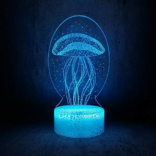 Fantasy Burbuja Hermosa medusa 3D Lámpara de Mesa Luz Nocturna RGB LED Bombilla Decoración de Navidad para el Hogar Juguetes de Batería del Teléfono Bluetooth Control Remoto Colores