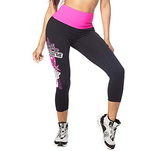 Zumba Aktiv Sport Capri High Waist Leggings Stilvoll Workout Fitnesshose Damen, B2B Black, XXL