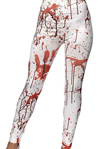 Smiffys Damen Horror Leggins mit Blutflecken, One Size, Weiß und Rot, 45210