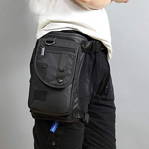 Bolsas de Nailon/anvas para Hombro, Crossbody y Motociclista, cinturón de Cadera, Bolso de Bandolera, Bolsas de Bandolera, Impermeables, Negro