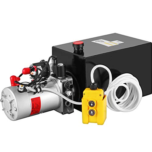 Mophorn Hydraulic Pump 12 Quart Hydraulic Power Unit Single Acting Hydraulic Power Unit with Steel Reservoir for Dump Trailer Truck Car Lift Unit 12V DC (Steel, 12 Quart Single Acting)