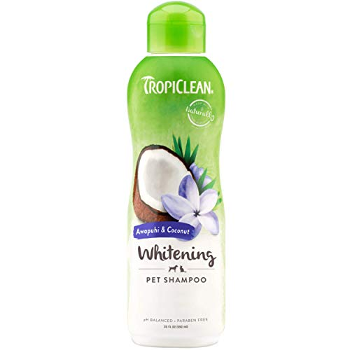 TropiClean Awapuhi & Coconut Whitening Shampoo for Pets, 20oz - Made in USA - Whitens and Brightens All Coats