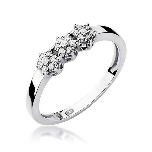 Anillo de compromiso para mujer, oro blanco 585 de 14 quilates, diamante natural