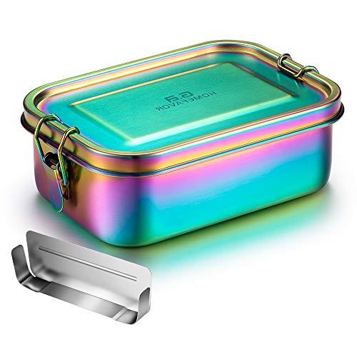 G.a HOMEFAVOR Edelstahl Brotdose Bento Box Auslaufsich Metall Lunchbox 800ml mit Herausnehmbarer Trennwand Vesperdose Sandwichbox für Kinder und Erwachsene, Galvanisierung Regenbogenfarbe Brotzeitdose