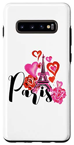 Galaxy S10+ Paris Watercolor Hearts Rose Eiffel Tower Valentine's Day Case