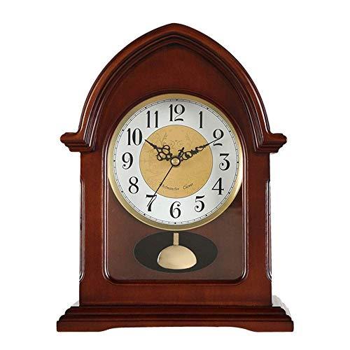 Reloj de chimenea con números arábigos de péndulo con esfera de madera, reloj de escritorio retro, reloj de mudo, reloj de escritorio con batería (color marrón