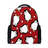 QMIN Mochila pingüino animal pájaro amor corazón escuela libro bolsa de impresión de un solo lado viaje universitario senderismo camping mochila bolso organizador para niños niñas mujeres hombres