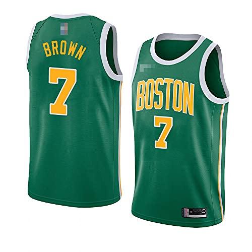 YZQ Jersey Men's, NBA Boston Celtics # 7 Jaylen Brown - Classic Basketball Sportswear Flojo Comfort Chalecos Tops, Camisetas Sin Mangas Uniformes,Verde,M(170~175CM)