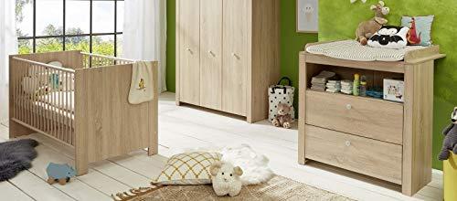 trendteam smart living Babyzimmer 2-teiliges Komplett Set Olivia, 0 x 0 x 0 cm Eiche Sägerau hell mit viel Stauraum