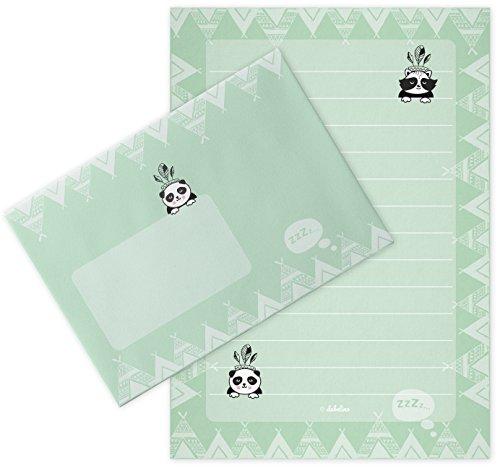Panda-Briefpapier-Set für Kinder: 25 Blatt Format DIN A5, liniert + 10 Briefumschläge (Jungen od. Mädchen, mint-grün)