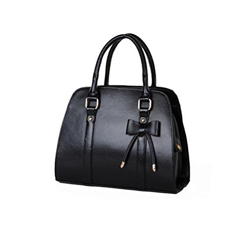 Pixnor Frauen Girls Bowknot Decor PU Handtasche Tasche Schultertasche Reisetasche (schwarz)