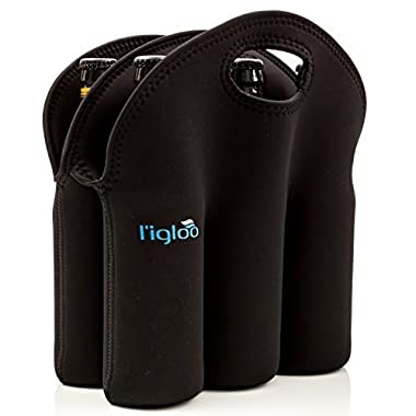 l'igloo Neoprene 6 Pack Bottle Carrier Extra Thick Insulated Bottle Holder Keeps Drinks Cold Use for Water Six Pack of Beer or Milk As Baby Bottle Tote Bag Or Beer Cooler Great Beer Gift