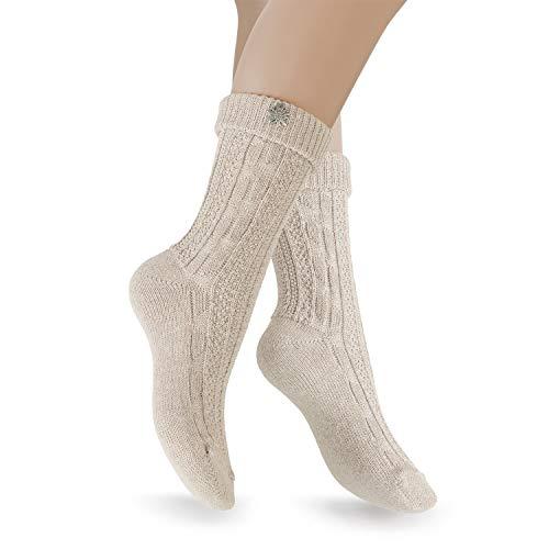 Celodoro Damen & Herren Trachten Socken (2 Paar) mit Edelweiß-Pin, Oktoberfest Strümpfe - Beige 35-38