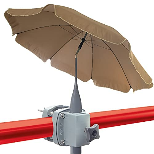 4smile set - parasol + soporte sombrilla barandilla de balcón SunnyBoy - parasol de balcón de 200cm SunnyJoy con soporte, plegable, protección solar UV 50+