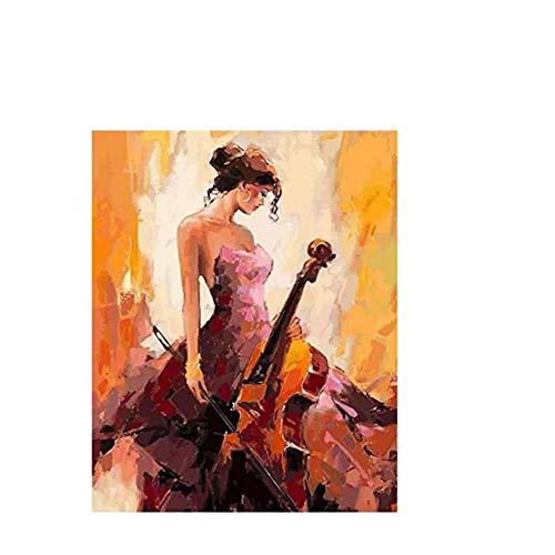 NOBRAND txtnt Rompecabezas de 1000 Piezas para niñas Violín y Mujer en Vestido Arte de Bricolaje Montaje Decorativo Grande Rompecabezas de Madera Personalizado Juego Divertido