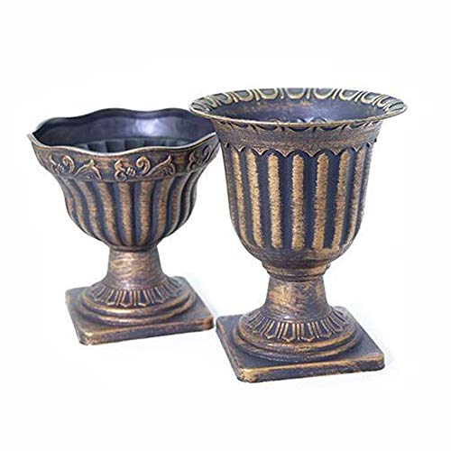 "WEIDUOFUN Set of 2 Antique Rustic Plastic Pedestal Vase Classic Urn Planter,Detachable,Lightweight- 7.09"" Diameter"