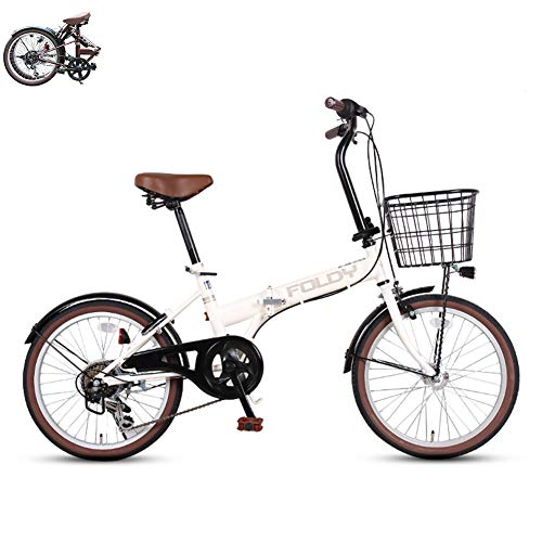 20-inch folding bicycles 6-speed ladies bicycles with front basket, LED sensor light, unisex, night safety, lightweight bikes, city traffic road bikes, put in the trunk