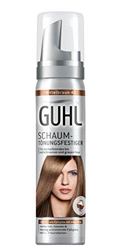 Guhl Schaum-Tönungsfestiger 40 Mittelbraun  mit Aloe Vera für dunkelblondes bis mittelbraunes und graues Haar, 1 x 75 ml