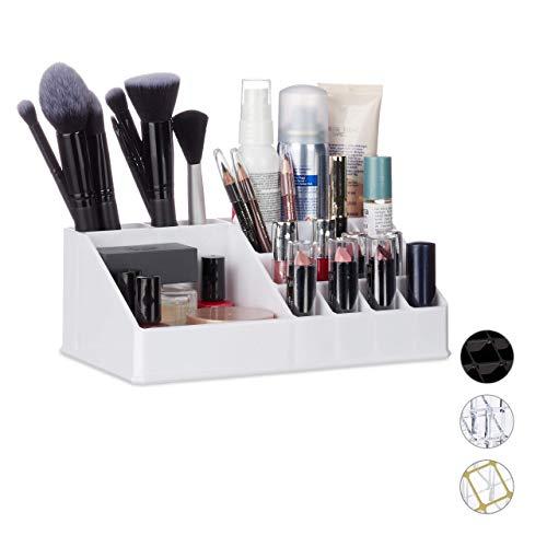 Relaxdays Kosmetik-Organizer aus Acryl, Kleiner Make Up Organizer mit 16 Fächern für Schminke & Lippenstift-Halter, weiß