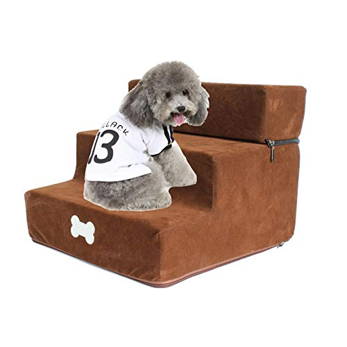 Kathrin Haustiertreppe, 11,8 X 13,7 X 11,8 Zoll Abnehmbare Dreistöckige Treppe, Hundetreppenleiter, 3-Stufen-Hunderampe-Schlafsofaleiter, 3-lagiges Abnehmbares Treppendesign, Für Kleine Hundekatze