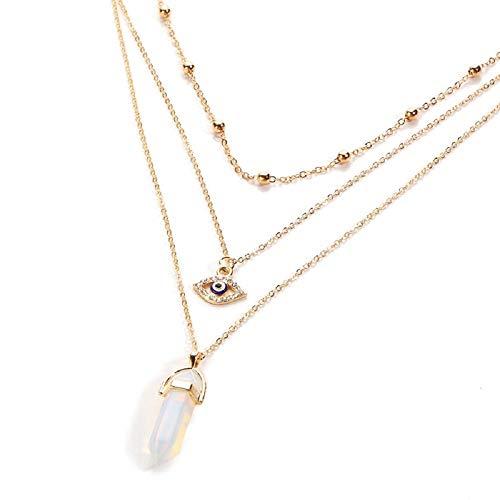Strass & paillettes halsketting, meerdere rijen, ketting, halsband, gouden kogel, halsketting, oog, hanger, bergkristal, wit, transparante halsketting in één