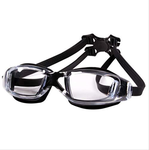 WNBJ Occhiali da Nuoto Miopia Occhialini da Nuoto per Uomini Adulti Occhiali Impermeabili in Silicone Antiappannamento (da -1,5 A -8,0) -1,5/-150 Nero