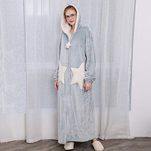 YSKDM Women Plus Size Long Warm Thicken Flannel Kimono Bathrobe Star Moon Hooded Fleece Bath Robe Cute Night Dress Gown Men Sleepwear,Women Star Blue,M