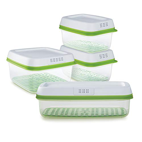 Rubbermaid FreshWorks Produce Saver Food Storage Containers, 8-Piece, Clear