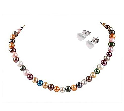 StunningBoutique Damen Perlenkette, mehrfarbige Süßwasserperlen 6-7 mm, Perlenkette Länge: 45 cm Plus 5 cm Verlängerungskette – in Einer eleganten Schmuckschatulle