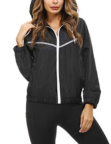 Akalnny Regenjacke Damen Kurze Windjacke mit Kapuze für den Außenbereich Jacke Windbreaker Jacke Schwarz XL