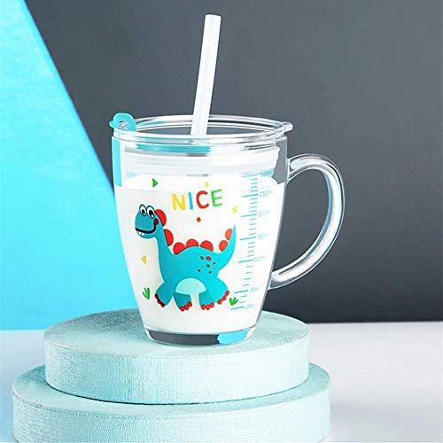 Glass Milk Cup with Measuring Kids Microwave Leak-proof Sippy Cup 300ml Transparent Drinking Glasses Jars Bottles Scale Measure Cup Cartoon Printing Water Cup with Lid Straw Handle for Milk Juice