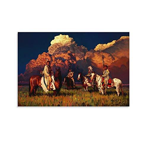 JINGHUAN Art Poster Rdr2 Indianer-Fit-Tapete, Leinwand-Kunst-Poster und Wandkunst, Bild, Druck, moderne Familie, Schlafzimmer, Dekoration, Poster, 30 x 45 cm