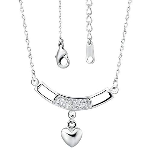 Daesar Women Necklaces, 18K White Gold Plated Necklace for Women Heart with White Cubic Zirconia Bar Pendant Necklace Silver