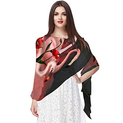 WJJSXKA Ladies/Women's Lightweight Floral Print Shawl Scarf for Spring Summer season, Flamingos And Poppies 3D