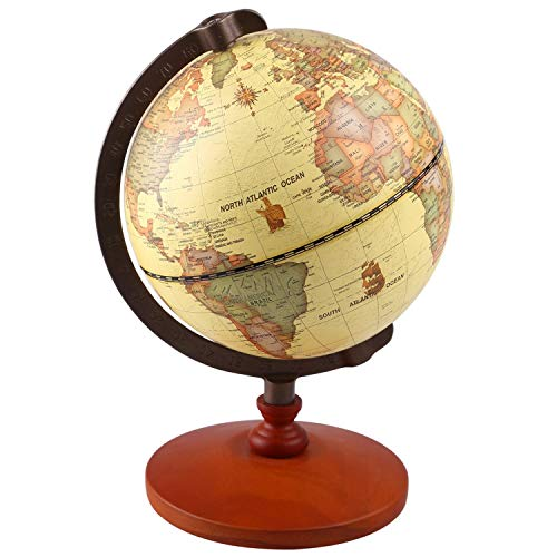 TTKTK 5' Diameter Vintage World Antique Decorative Desktop Rotating Earth Geography Wooden Base Educational Globe Wedding Gift with Magnifying Glass,