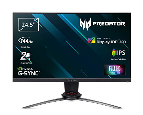 Acer Predator XB253QGP - Monitor Gaming G-SYNC Compatible 24,5' Dispaly IPS Full HD, 144 Hz, 2 ms, HDMI 2.0, DP 1.2a, USB3.0, 400 cd/m2, ZeroFrame, Speaker, Cavi HDMI, DP, USB3.0 Inclusi, Nero