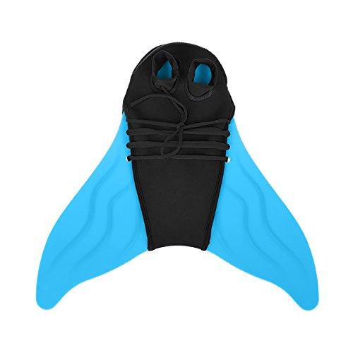SelfLove Tauchflossen Schwimmflossen Meerjungfrau Schwimm Flossen Monoflossen Schwimmen Flipper für Erwachsene/Kinder,Blau
