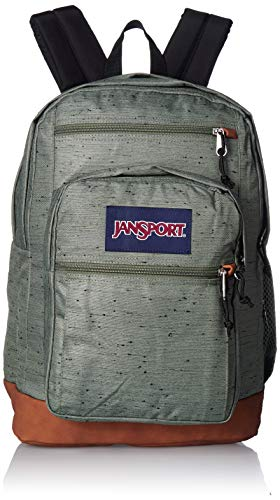 JanSport Cool Student 15-inch Laptop Backpack, Muted Green Plain Weave