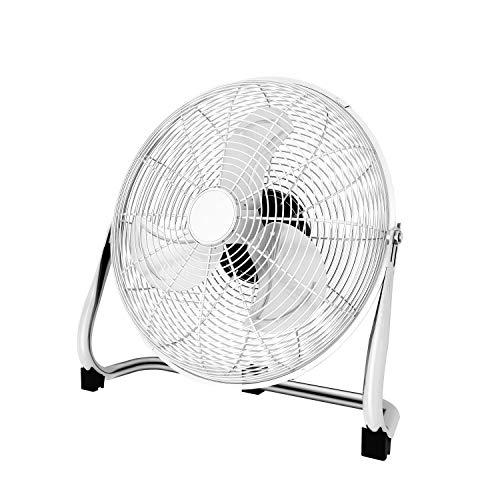 Famgizmo 45cm Bodenventilator, Windmaschine Retro,100 Watt, Ventilator in Chrom,Standventilator 50cm,3 Ventilationsstufen,robuster Stand,stufenlos neigbarer Ventilatorkopf
