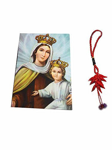 Artesanal ricevi 1Imán Religiosa Santini 5x 7cm Imán: Virgen del Carmen con Gesu 'Bambino y un Llavero Incluye Amuleto Corni